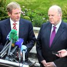 Fine Gael TDs last night turned on Taoiseach Enda Kenny and Finance Minister Michael Noonan over the pension increases for former government ministers and controversy surrounding the operation of Nama