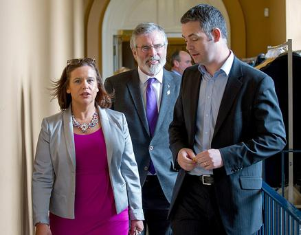 Sinn Féin finance spokesman Pearse Doherty, right, with Gerry Adams and deputy leader Mary Lou McDonald