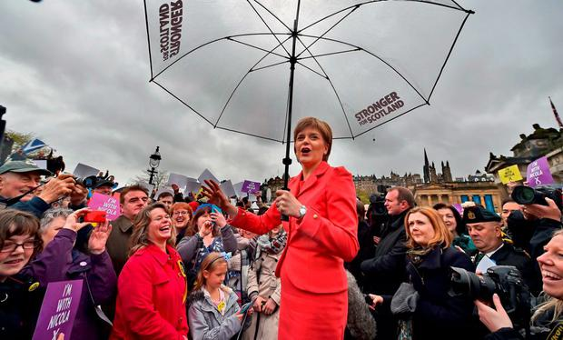 Scottish First Minister Nicola Sturgeon marks the final day of campaigning in the UK election with a speech to activists in Edinburgh. Photo: Getty Images