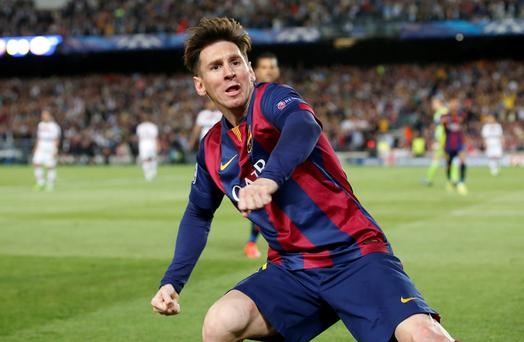 Barcelona's Lionel Messi celebrates