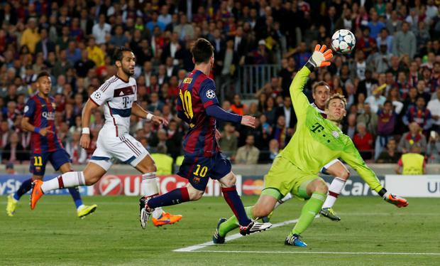 Barcelona's Lionel Messi scores their second goal