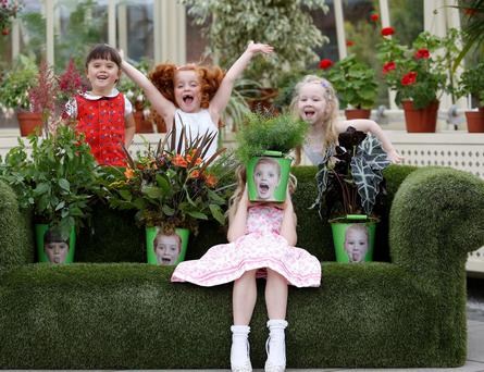 Chloe Walsh, age 6, Kiki Deegan, age 6, Eabha Scully, age 6 and Liah Mann, age 5, pictured in the National Botantic Gardens for the launch of Bloom
