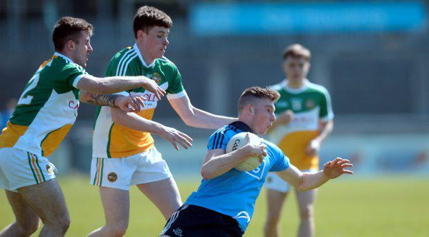 Donal McIlgorm, Dublin, in action against Shane Tierney, left, and Dylan Hyland, Offaly