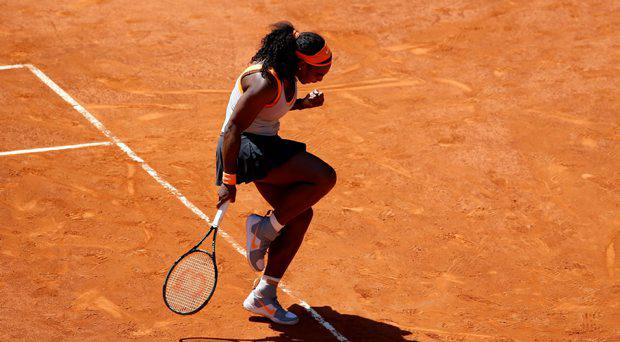 Serena Williams of the U.S. reacts after winning a point against Victoria Azarenka of Belarus during their match at the Madrid Open tennis tournament in Madrid, Spain, May 6, 2015