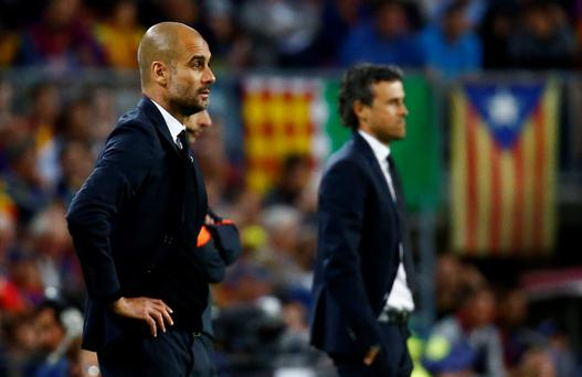 Barcelona coach Luis Enrique and Bayern Munich coach Josep Guardiola Reuters / Kai Pfaffenbach