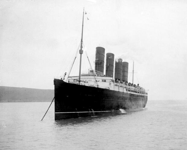 Passengers on a modern-day Cunard cruise liner will today mark the 100th anniversary of the sinking of the Cunard ship. Photo credit: PA Wire