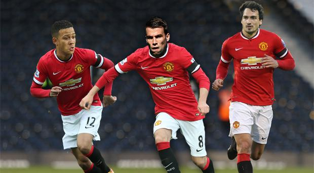 From left in red: Man United's new £25m signing Memphis Depay, Everton target Seamus Coleman and Borussia Dortmund defender Mats Hummels