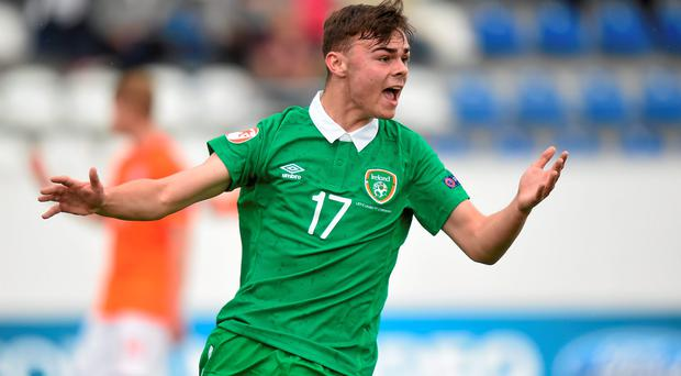 7 May 2015; Jamie Aherne, Republic of Ireland, reacts after a missed chance. UEFA European U17 Championship Finals Group D, Republic of Ireland v Netherlands. Sozopol Stadium, Sozopol, Bulgaria. Picture credit: Pat Murphy / SPORTSFILE