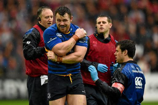 Cian Healy, Leinster, recieves attention after taking a knock against Toulon