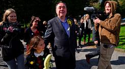 SNP candidate for the Gordon Constituency and Former First Minister Alex Salmond arrives at the local polling station in Ellon, Scotland. (Photo by Mark Runnacles/Getty Images)