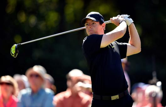 Rory McIlroy hits his tee shot on the 15th hole during the first round of The Players Championship