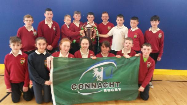 After Ireland's dramatic last-day victory in the Championship, the new Six Nations trophy made a flying visit to Galway and made a quick tour of some of our local schools