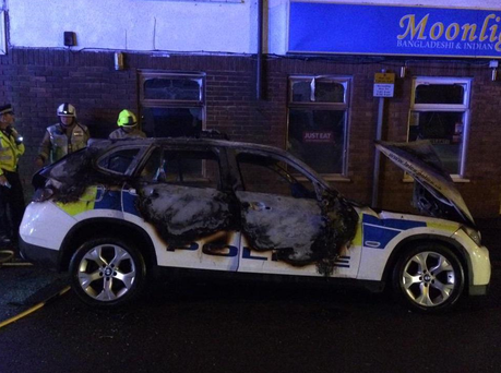 Five men arrested after a police car exploded outside a General Election count Hinckley Leisure Centre, in Coventry Road, Hinckley. Picture: Twitter