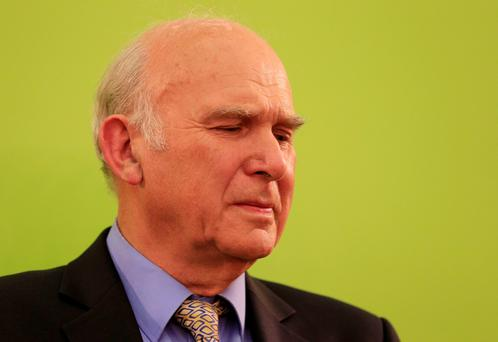Liberal Democrat Business Secretary Vince Cable looks on after he lost his Twickenham seat to the Conservatives at Richmond Upon Thames College, Richmond. Photo : Jonathan Brady/PA Wire