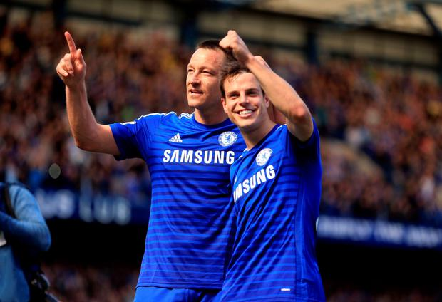 Chelsea's John Terry (left) and Cesar Azpilicueta celebrate after winning the title