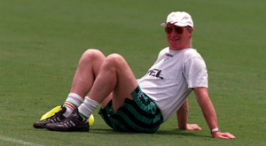 Jack Charlton takes a break during a squad training session at the Orange Bowl, Florida during USA 1994. Charlton celebrates his 80th birthday today