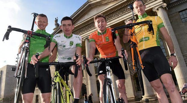 27 January 2015; Former R?s winner David McCann, extreme right, with Irish riders, from left, Damien Shaw, Sean McKenna and Eoin Morton at the launch of the 2015 An Post R?s which will begin on Sunday May 17th, in Dunboyne, Co. Meath and finish on Sunday May 24th, in Skerries, Co. Dublin