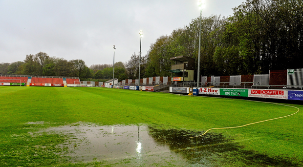 General view of the waterlogged pitch at Richmond Park where the game was called off. SSE Airtricity League Premier Division, St Patrick's Athletic v Shamrock Rovers, Richmond Park, Dublin. Picture credit: David Maher / SPORTSFILE