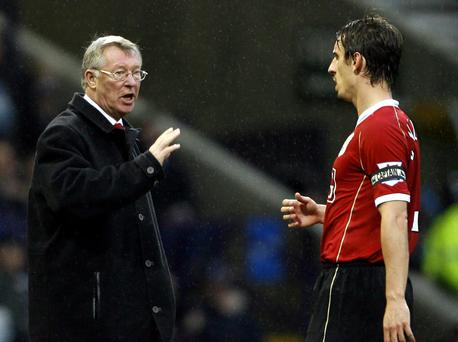 Gary Neville in conversation with Alex Ferguson