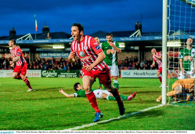 8 May 2015; Kevin Devaney, Sligo Rovers, celebrates after scoring his side's second goal. SSE Airtricity League Premier Division, Cork City v Sligo Rovers, Turners Cross, Cork. Picture credit: Eoin Noonan / SPORTSFILE