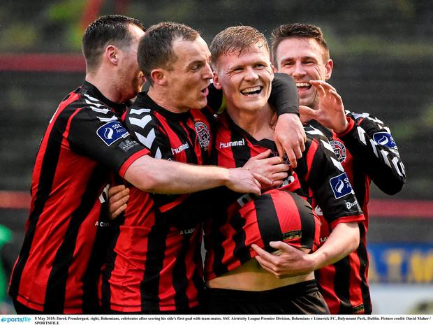 8 May 2015; Derek Prendergast, right, Bohemians, celebrates after scoring his side's first goal with team-mates. SSE Airtricity League Premier Division, Bohemians v Limerick FC, Dalymount Park, Dublin. Picture credit: David Maher / SPORTSFILE