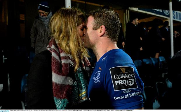 8 May 2015; Leinster's Gordon D'Arcy gets a kiss from his wife Aoife after his last home appearance for the club. Guinness PRO12, Round 21, Leinster v Benetton Treviso, RDS, Ballsbridge, Dublin. Picture credit: Matt Browne / SPORTSFILE