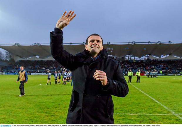 8 May 2015; Shane Jennings, Leinster, waves to the crowd at half time, during his last home appearence for the club. Guinness PRO12, Round 21, Leinster v Benetton Treviso, RDS, Ballsbridge, Dublin. Picture credit: Matt Browne / SPORTSFILE