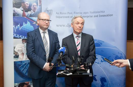 Enterprise Minister Richard Bruton and Labour's junior employment minister, Ged Nash, yesterday jointly launched two draft laws aimed at improving industrial relations