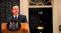 David Cameron delivers his victory speech outside No. 10