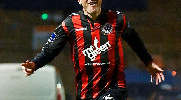 Jason Byrne wheels away to celebrate after scoring Bohemians second goal