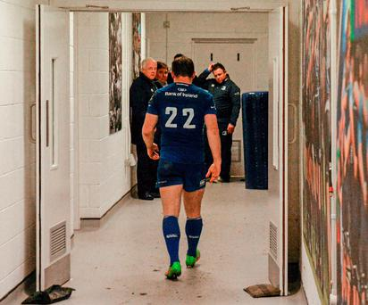 Leinster's Gordon D'Arcy leaves the RDS pitch for the final time