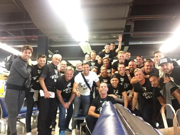 Mark pictured with his stag party who racked up more than €48k on booze in Las Vegas