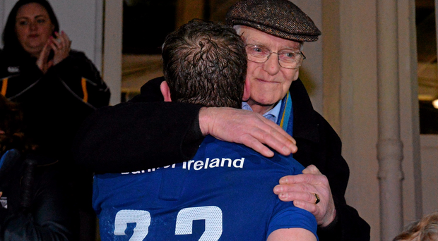 Gordon D'Arcy gets a hug from his father John after his last home appearance for the club.
