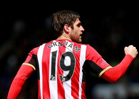 Danny Graham celebrates scoring Sunderland's first goal against Everton yesterday