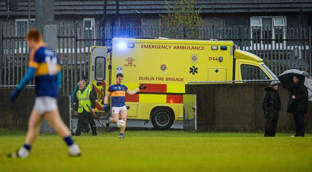 An ambulance at Parnell Park last Saturday evening