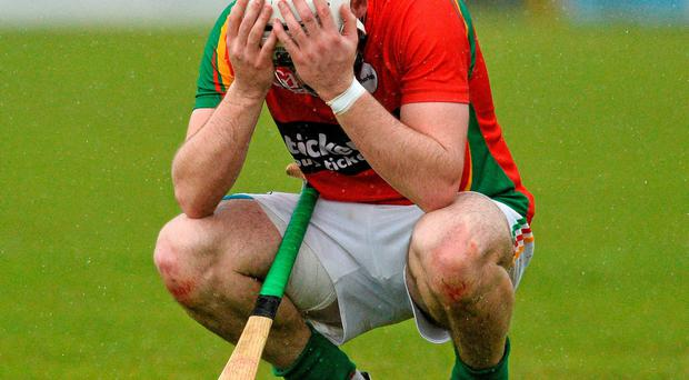 Carlow's Martin Kavanagh shows his disappointment after his side's Leinster SHC qualifier defeat to Westmeath last weekend
