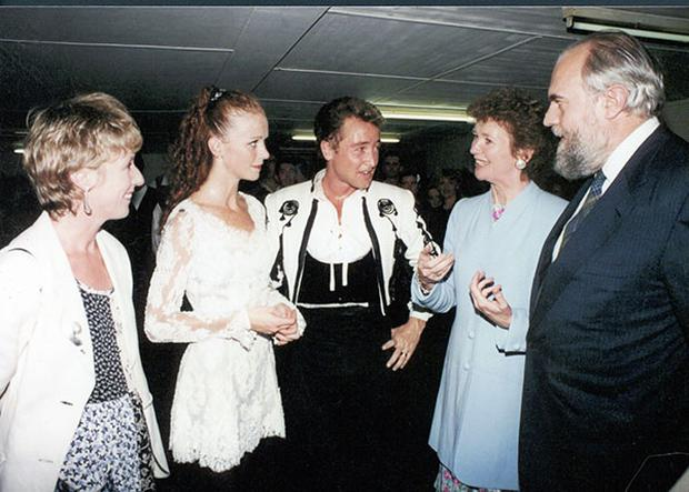 Mary pictured with her husband and Michael Flatley in 1995