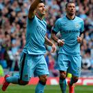 Manchester City's Argentinian striker Sergio Aguero clebrates his second goal