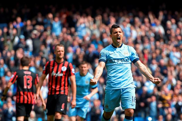 MANCHESTER, ENGLAND - MAY 10: Sergio Aguero of Manchester City celebrates after scoring his team's fourth goal from the penalty spot during the Barclays Premier League match between Manchester City and Queens Park Rangers at the Etihad Stadium on May 10, 2015 in Manchester, England. (Photo by Michael Regan/Getty Images)
