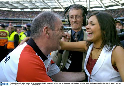 Tyrone manager Mickey Harte with his daughter Michaela in 2005