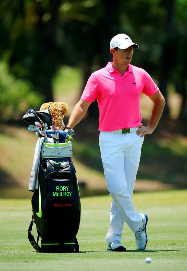 PONTE VEDRA BEACH, FL - MAY 10: Rory McIlroy of Northern Ireland stands next to his bag on the fifth hole during the final round of THE PLAYERS Championship at the TPC Sawgrass Stadium course on May 10, 2015 in Ponte Vedra Beach, Florida. (Photo by Richard Heathcote/Getty Images)