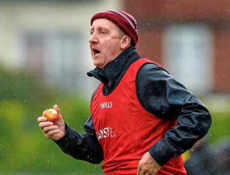 Michael Ryan issues instructions to his Westmeath players while eating an apple during the game against Antrim