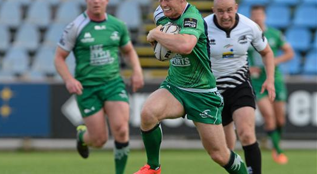 Matt Healy, Connacht, breaks through the Zebre defence to score his side's second try of the game. Guinness PRO12, Round 21, Zebre v Connacht (Max Pratelli / SPORTSFILE)