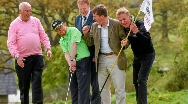 Special Olympics Golfer Paul Kirrane from Ennis, Co Clare, pictured with Christy O'Connor Jr, CEO Gary Desmond, Special Olympics CEO Matt English and Eamonn Coghlan at the unveiling of Team Ireland's golf squad for the World Games (Ray McManus / SPORTSFILE)