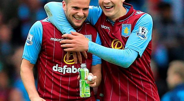 Aston Villa's goalscorer Tom Cleverley and Jack Grealish celebrate after their victory against West Ham at Villa park yesterday