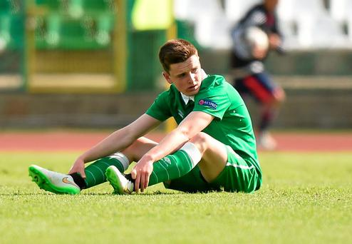 Darragh Leahy looks dejected after Ireland's loss to Italy at the Beroe Stadium in Bulgaria yesterday