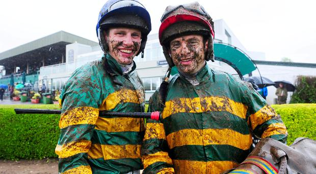 Paul Townend (left) & Alan Crowe (right) in the J.P.McManus Colours after partnering Waxies Dargle to victory in the Ladbrokes Ireland Handicap Final