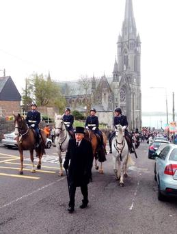 Garda horses leading the reenactment of the Lusitania funerals of 1915 in Cobh, Co Cork. Photo: @GardaTraffic/PA Wire