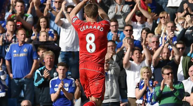 Steven Gerrard leaves the pitch at Stamford Bridge after being substituted during the 1-1 draw against Chelsea