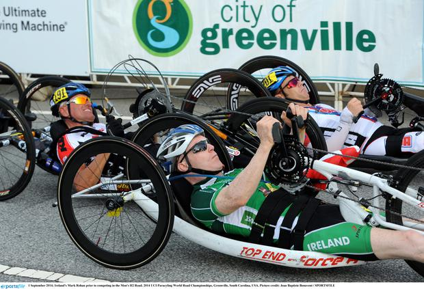 Ireland's Mark Rohan prior to competing in the Men's H2 Road. 2014 UCI Paracyling World Road Championships